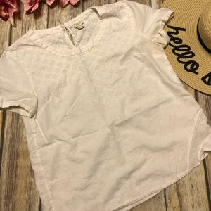 J.CREW FACTORY White 6 Embroidered Blouse